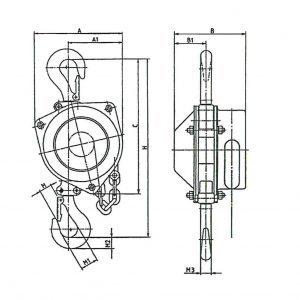 Drawing - Manual chain hoist HADEF 16/12