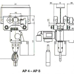 Drawing - Pneumatic chain hoist HADEF 70/06 APH