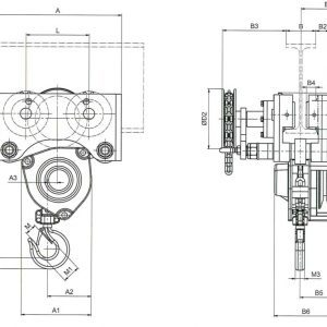 Drawing - Manual chain hoist HADEF 24/12 HR+HH