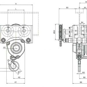Drawing - Manual chain hoist HADEF 240/12 HR+HH