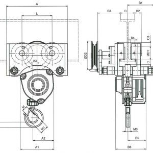 Drawing - Manual chain hoist HADEF 27/12 HR+HH
